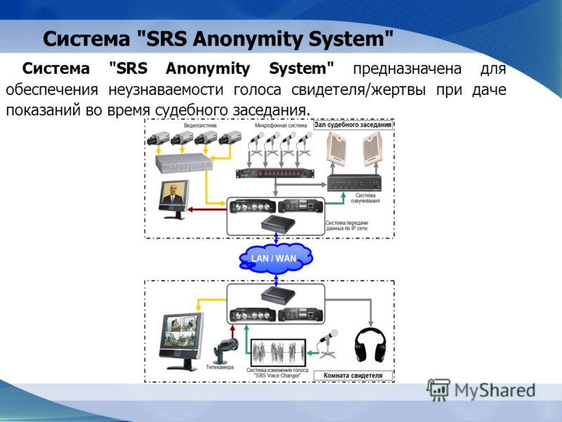 Система SRS Anonymity System Система SRS Anonymity System предназначена для обеспечения неузнаваемости голоса свидетеля/жертвы при даче показаний во время судебного заседания.