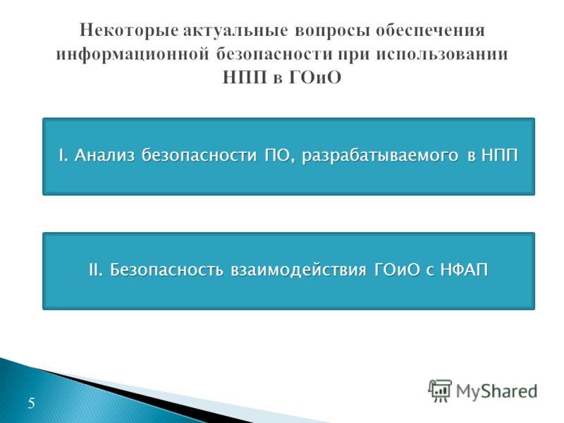 5 I. Анализ безопасности ПО, разрабатываемого в НПП II. Безопасность взаимодействия ГОиО с НФАП