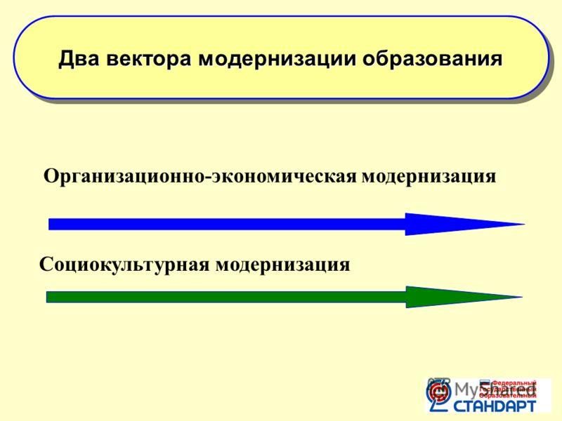 Два вектора модернизации образования Организационно-экономическая модернизация Социокультурная модернизация