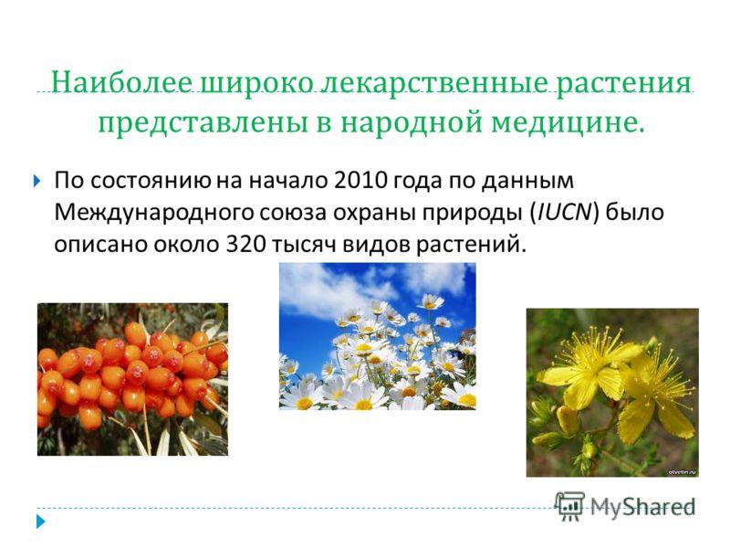 Наиболее широко лекарственные растения представлены в народной медицине. По состоянию на начало 2010 года по данным Международного союза охраны природы (IUCN) было описано около 320 тысяч видов растений.