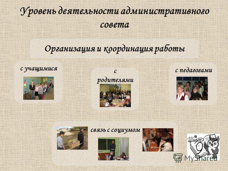 Уровень деятельности административного совета Организация и координация работы с учащимися с родителями с педагогами связь с социумом