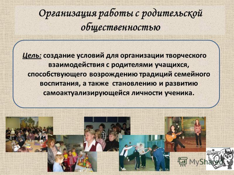 Организация работы с родительской общественностью Цель: создание условий для организации творческого взаимодействия с родителями учащихся, способствующего возрождению традиций семейного воспитания, а также становлению и развитию самоактуализирующейся