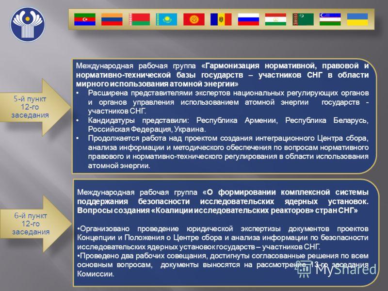 Международная рабочая группа « Гармонизация нормативной, правовой и нормативно - технической базы государств – участников СНГ в области мирного использования атомной энергии » Расширена представителями экспертов национальных регулирующих органов и ор