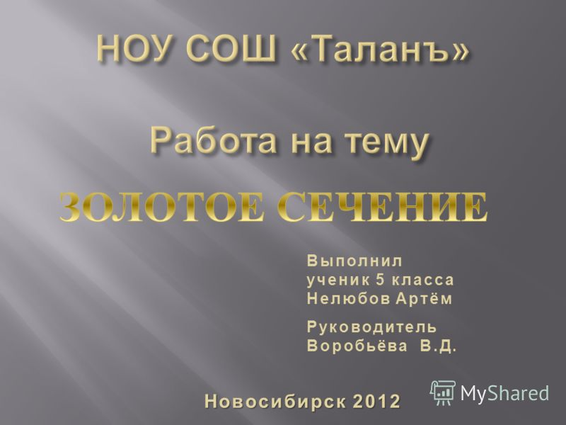 Выполнил ученик 5 класса Нелюбов Артём Руководитель Воробьёва В. Д. Новосибирск 2012