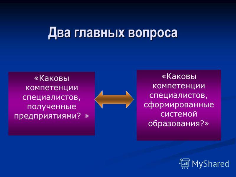 Два главных вопроса «Каковы компетенции специалистов, полученные предприятиями? » «Каковы компетенции специалистов, сформированные системой образования?»