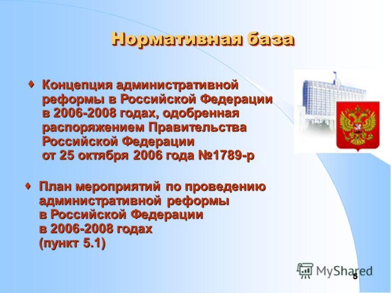 5 Нормативная база Концепция административной реформы в Российской Федерации в 2006-2008 годах, одобренная распоряжением Правительства Российской Федерации от 25 октября 2006 года 1789-р Концепция административной реформы в Российской Федерации в 200