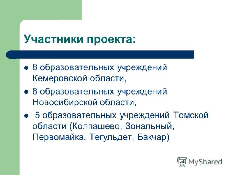 Участники проекта: 8 образовательных учреждений Кемеровской области, 8 образовательных учреждений Новосибирской области, 5 образовательных учреждений Томской области (Колпашево, Зональный, Первомайка, Тегульдет, Бакчар)