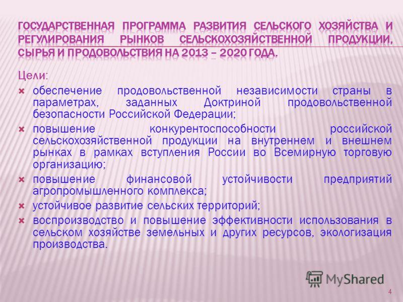 Цели: обеспечение продовольственной независимости страны в параметрах, заданных Доктриной продовольственной безопасности Российской Федерации; повышение конкурентоспособности российской сельскохозяйственной продукции на внутреннем и внешнем рынках в