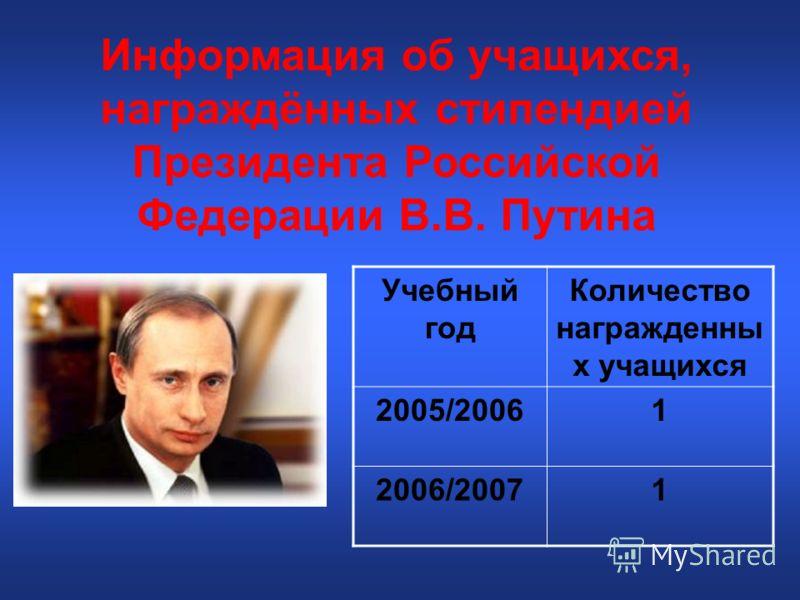 Информация об учащихся, награждённых стипендией Президента Российской Федерации В.В. Путина Учебный год Количество награжденны х учащихся 2005/20061 2006/20071