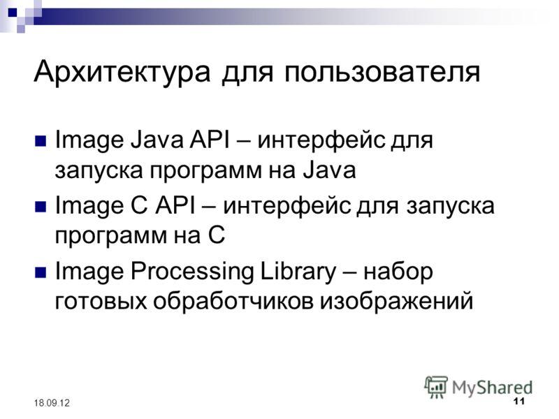 11 18.09.12 Архитектура для пользователя Image Java API – интерфейс для запуска программ на Java Image C API – интерфейс для запуска программ на С Image Processing Library – набор готовых обработчиков изображений