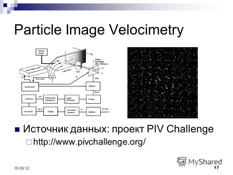 17 18.09.12 Particle Image Velocimetry Источник данных: проект PIV Challenge http://www.pivchallenge.org/
