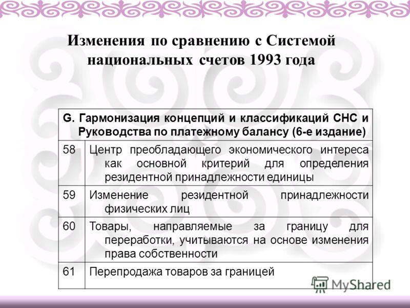 Изменения по сравнению с Системой национальных счетов 1993 года G. Гармонизация концепций и классификаций СНС и Руководства по платежному балансу (6-е издание) 58Центр преобладающего экономического интереса как основной критерий для определения резид