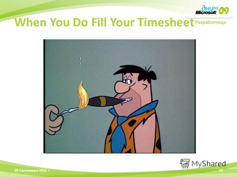 Разработчици 28 Юни 2012 г.23 When You Do Fill Your Timesheet