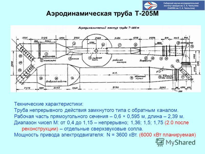 Аэродинамическая труба Т-205М Технические характеристики: Труба непрерывного действия замкнутого типа с обратным каналом. Рабочая часть прямоугольного сечения – 0,6 × 0,595 м, длина – 2,39 м. Диапазон чисел М: от 0,4 до 1,15 – непрерывно; 1,36; 1,5;