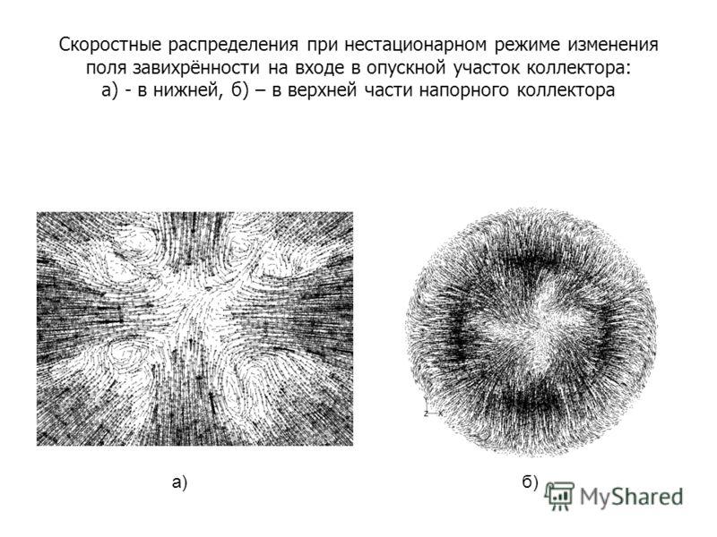 Скоростные распределения при нестационарном режиме изменения поля завихрённости на входе в опускной участок коллектора: а) - в нижней, б) – в верхней части напорного коллектора а)б)