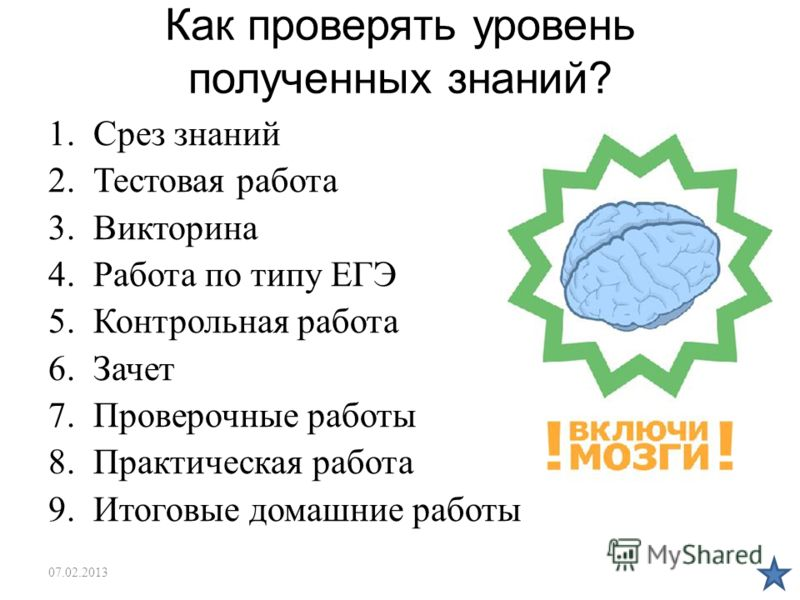 Как проверять уровень полученных знаний? 1.Срез знаний 2.Тестовая работа 3.Викторина 4.Работа по типу ЕГЭ 5.Контрольная работа 6.Зачет 7.Проверочные работы 8.Практическая работа 9.Итоговые домашние работы 07.02.2013