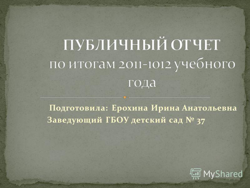 Подготовила: Ерохина Ирина Анатольевна Заведующий ГБОУ детский сад 37
