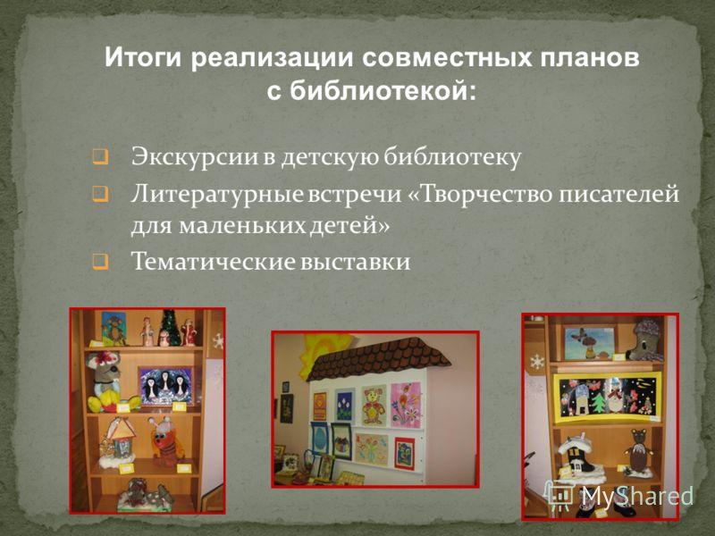 Экскурсии в детскую библиотеку Литературные встречи «Творчество писателей для маленьких детей» Тематические выставки Итоги реализации совместных планов с библиотекой: