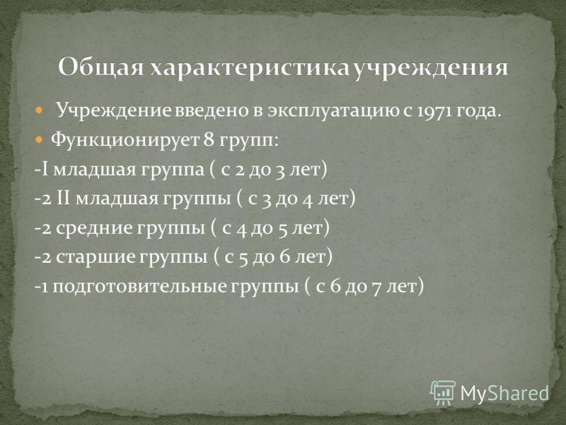 Учреждение введено в эксплуатацию с 1971 года. Функционирует 8 групп: -I младшая группа ( с 2 до 3 лет) -2 II младшая группы ( с 3 до 4 лет) -2 средние группы ( с 4 до 5 лет) -2 старшие группы ( с 5 до 6 лет) -1 подготовительные группы ( с 6 до 7 лет