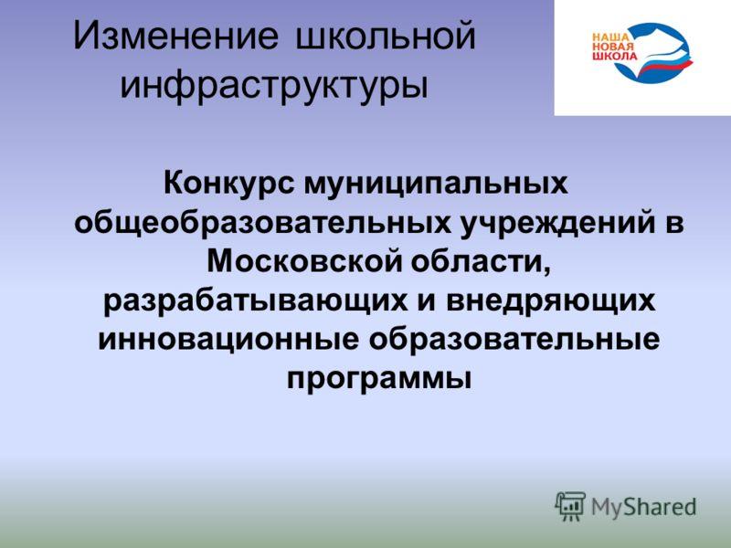 Изменение школьной инфраструктуры Конкурс муниципальных общеобразовательных учреждений в Московской области, разрабатывающих и внедряющих инновационные образовательные программы