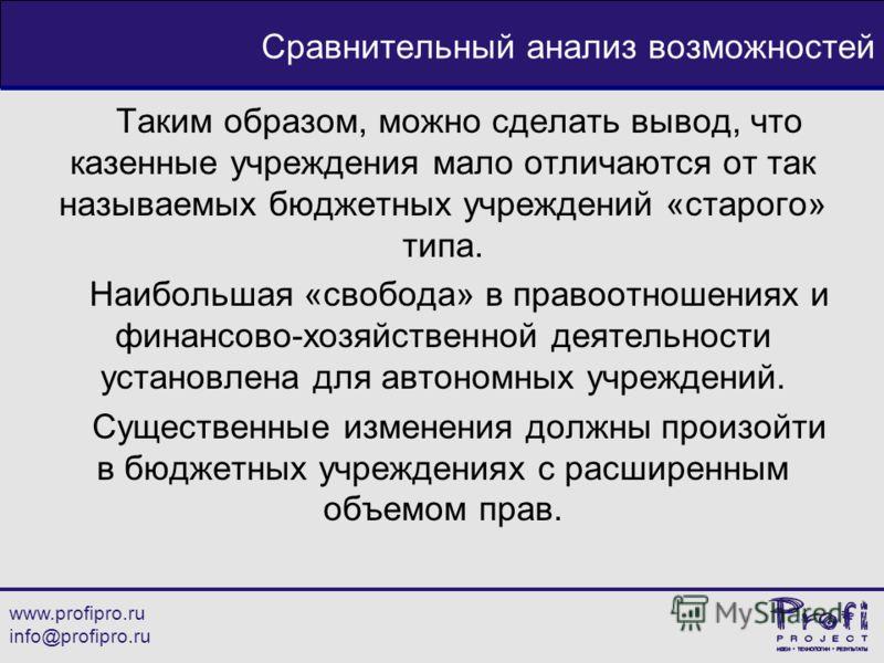 www.profipro.ru info@profipro.ru Сравнительный анализ возможностей Таким образом, можно сделать вывод, что казенные учреждения мало отличаются от так называемых бюджетных учреждений «старого» типа. Наибольшая «свобода» в правоотношениях и финансово-х