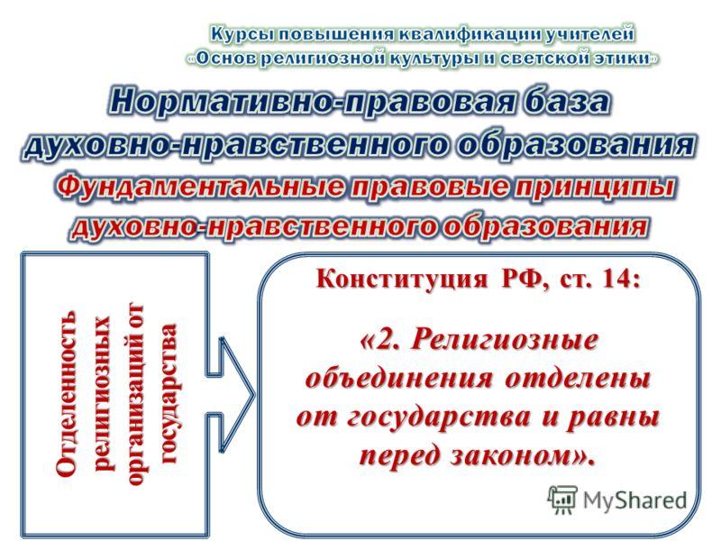 Отделенность религиозных организаций от государства Конституция РФ, ст. 14: «2. Религиозные объединения отделены от государства и равны перед законом».