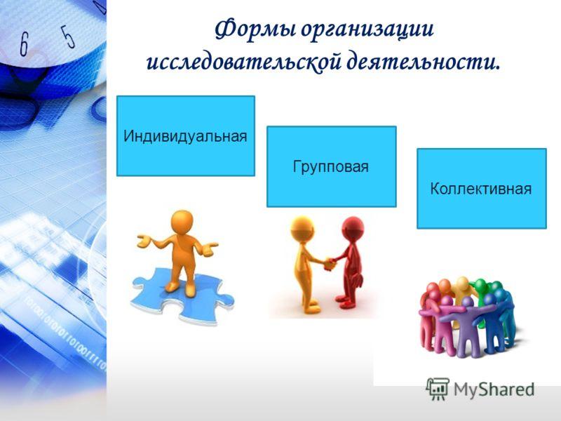Формы организации исследовательской деятельности. Индивидуальная Групповая Коллективная