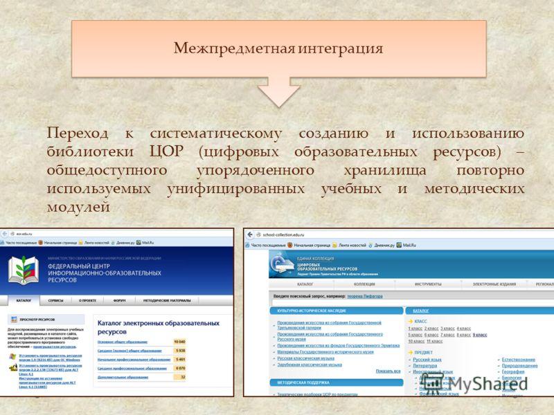 Межпредметная интеграция Переход к систематическому созданию и использованию библиотеки ЦОР (цифровых образовательных ресурсов) – общедоступного упорядоченного хранилища повторно используемых унифицированных учебных и методических модулей