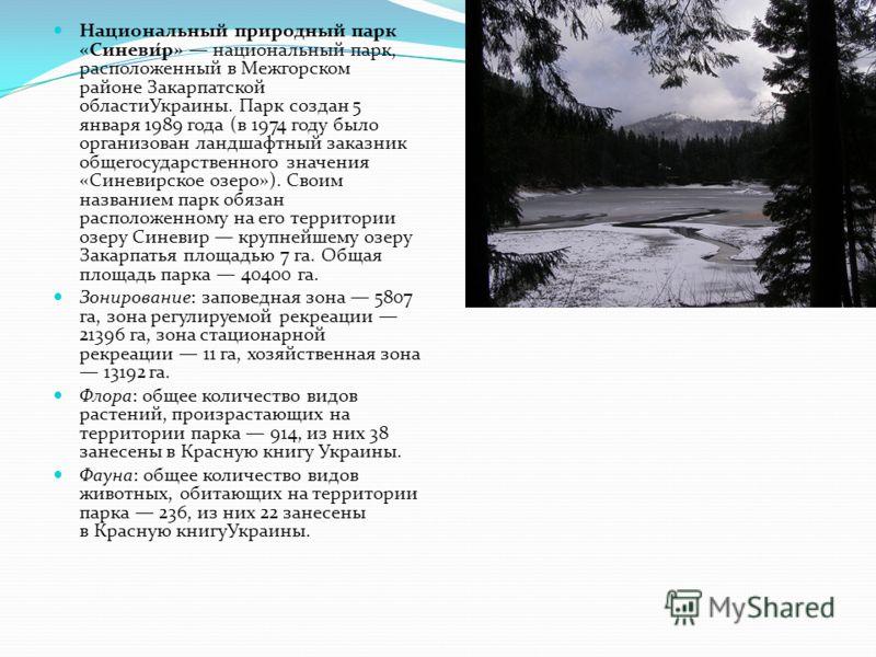 Национальный природный парк «Синеви́р» национальный парк, расположенный в Межгорском районе Закарпатской областиУкраины. Парк создан 5 января 1989 года (в 1974 году было организован ландшафтный заказник общегосударственного значения «Синевирское озер