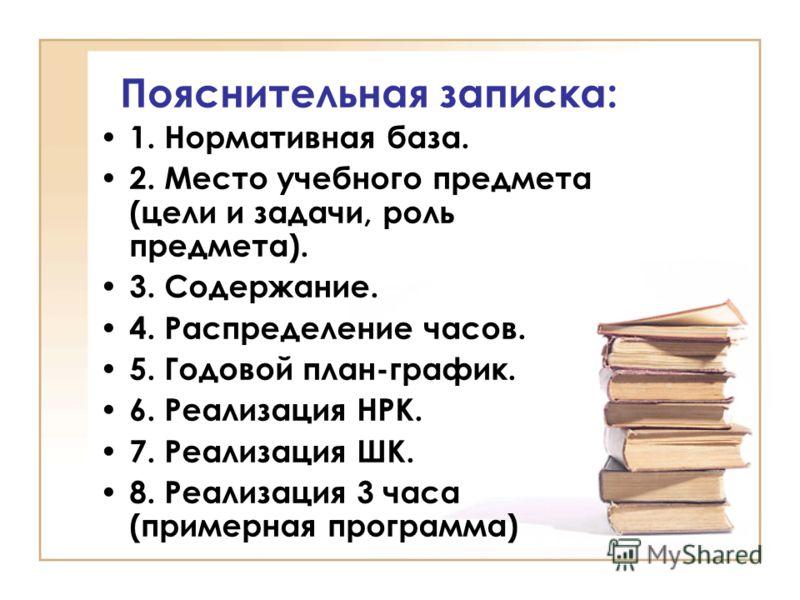 Пояснительная записка: 1. Нормативная база. 2. Место учебного предмета (цели и задачи, роль предмета). 3. Содержание. 4. Распределение часов. 5. Годовой план-график. 6. Реализация НРК. 7. Реализация ШК. 8. Реализация 3 часа (примерная программа)