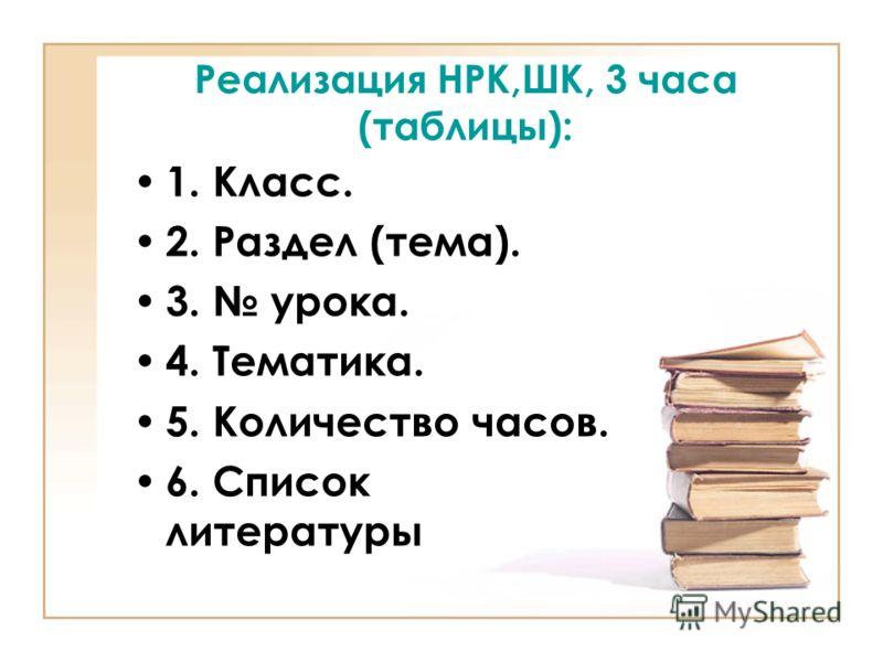 Реализация НРК,ШК, 3 часа (таблицы): 1. Класс. 2. Раздел (тема). 3. урока. 4. Тематика. 5. Количество часов. 6. Список литературы