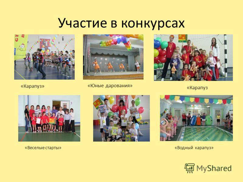 Участие в конкурсах «Карапуз» «Веселые старты»«Водный карапуз» «Юные дарования» «Карапуз