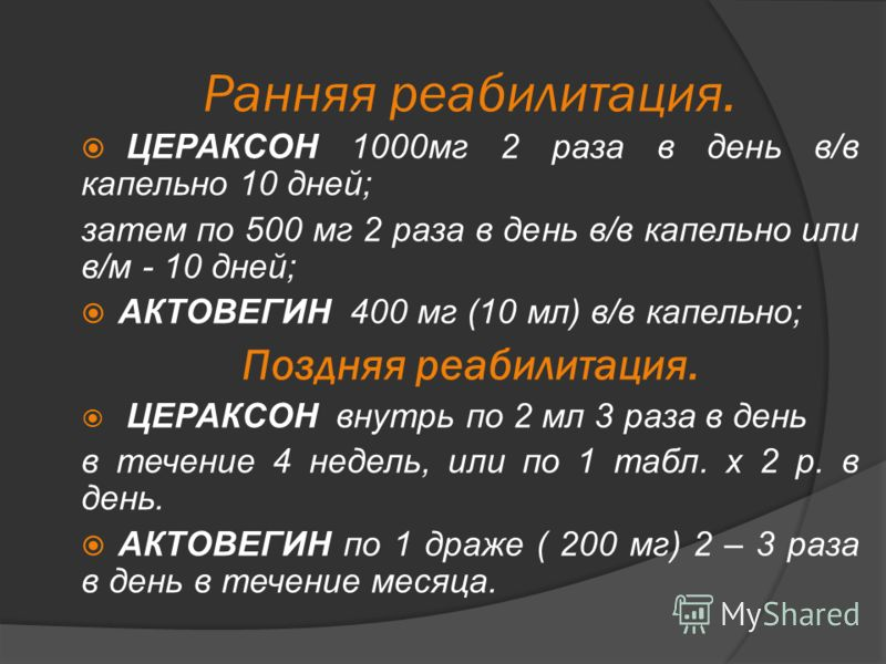Ранняя реабилитация. ЦЕРАКСОН 1000мг 2 раза в день в/в капельно 10 дней; затем по 500 мг 2 раза в день в/в капельно или в/м - 10 дней; АКТОВЕГИН 400 мг (10 мл) в/в капельно; Поздняя реабилитация. ЦЕРАКСОН внутрь по 2 мл 3 раза в день в течение 4 неде