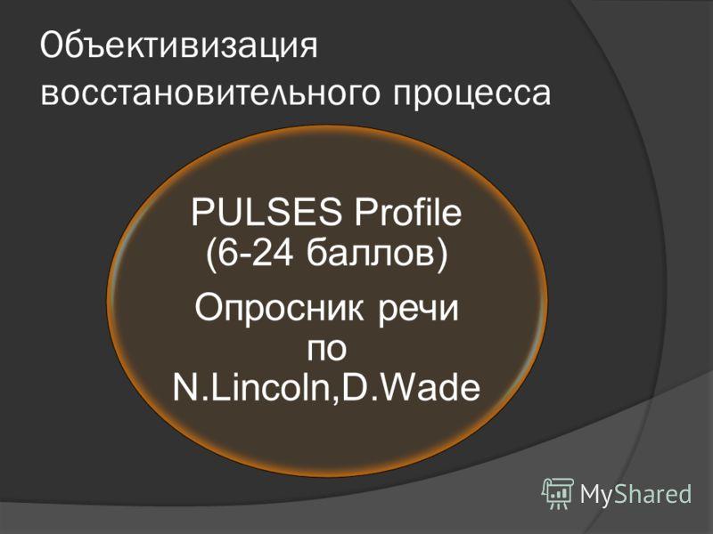 Объективизация восстановительного процесса PULSES Profile (6-24 баллов) Опросник речи по N.Lincoln,D.Wade