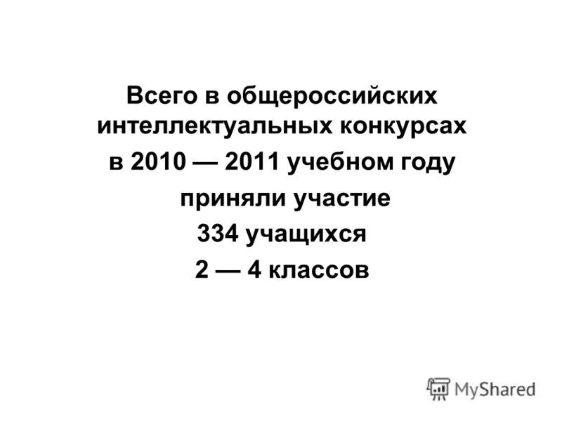 Всего в общероссийских интеллектуальных конкурсах в 2010 2011 учебном году приняли участие 334 учащихся 2 4 классов