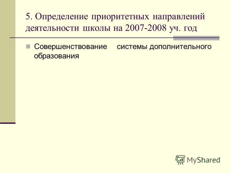 5. Определение приоритетных направлений деятельности школы на 2007-2008 уч. год Совершенствование системы дополнительного образования