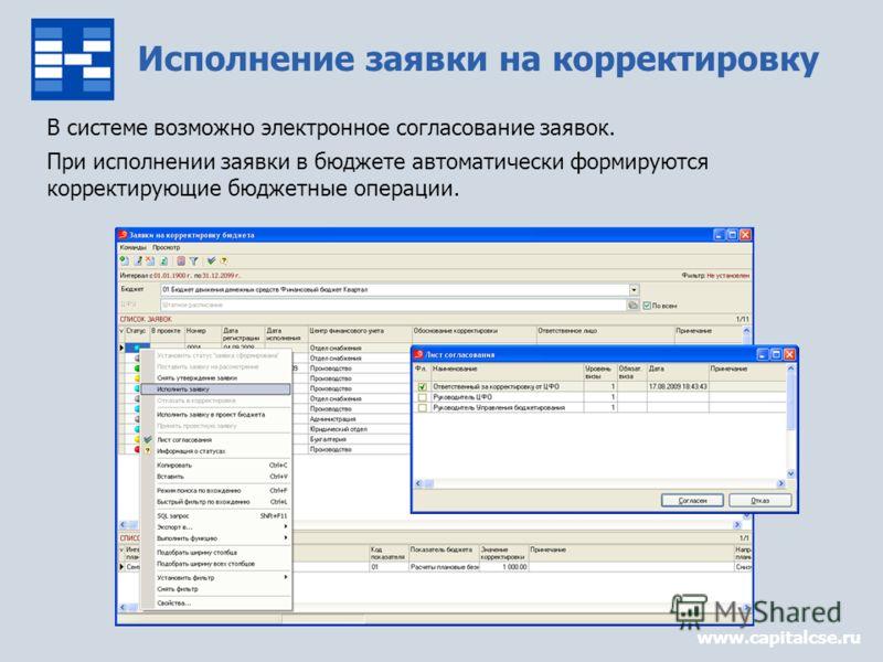 Исполнение заявки на корректировку В системе возможно электронное согласование заявок. При исполнении заявки в бюджете автоматически формируются корректирующие бюджетные операции. www.capitalcse.ru