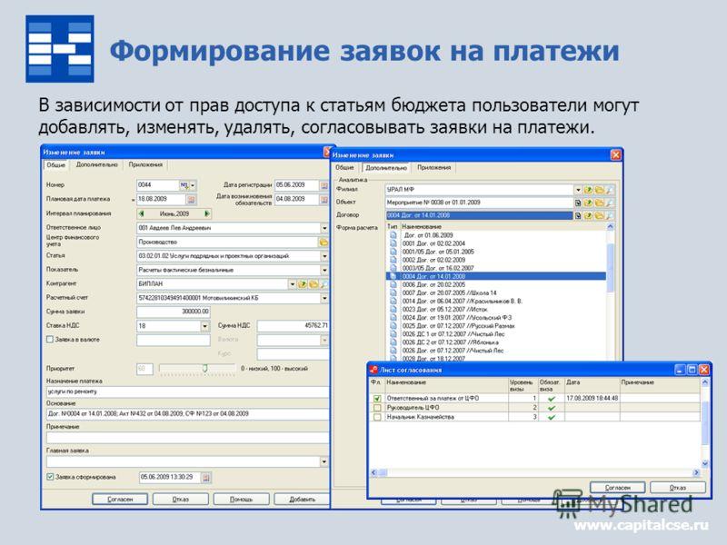 Формирование заявок на платежи www.capitalcse.ru В зависимости от прав доступа к статьям бюджета пользователи могут добавлять, изменять, удалять, согласовывать заявки на платежи.
