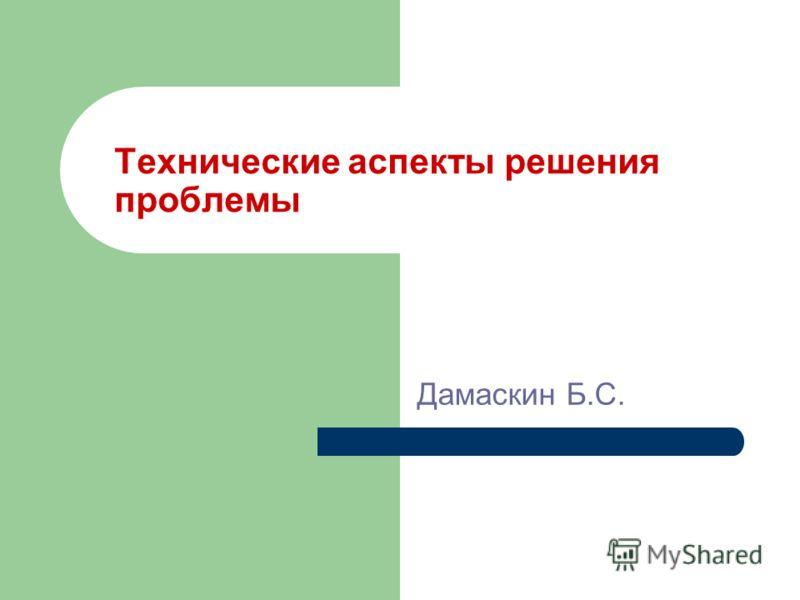 Технические аспекты решения проблемы Дамаскин Б.С.