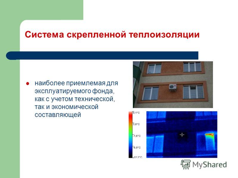 Система скрепленной теплоизоляции наиболее приемлемая для эксплуатируемого фонда, как с учетом технической, так и экономической составляющей