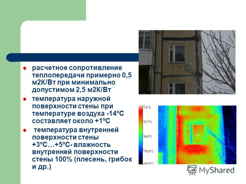 расчетное сопротивление теплопередачи примерно 0,5 м2К/Вт при минимально допустимом 2,5 м2К/Вт температура наружной поверхности стены при температуре воздуха -14ºС составляет около +1ºС температура внутренней поверхности стены +3ºС…+5ºС- влажность вн