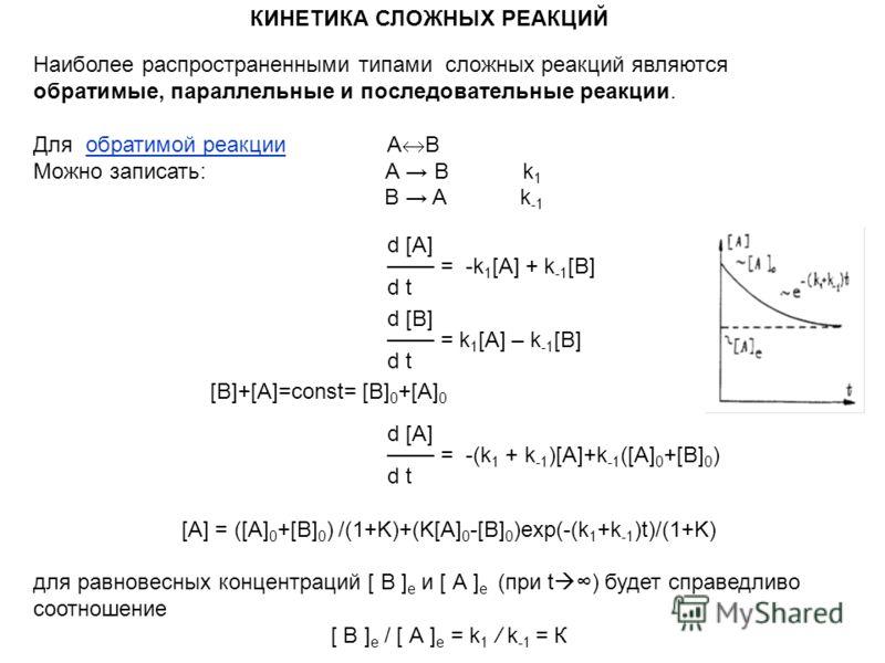 КИНЕТИКА СЛОЖНЫХ РЕАКЦИЙ Наиболее распространенными типами сложных реакций являются обратимые, параллельные и последовательные реакции. Для обратимой реакцииА В Можно записать: А B k 1 B A k -1 d [А] = -k 1 [А] + k -1 [B] d t d [B] = k 1 [А] – k -1 [