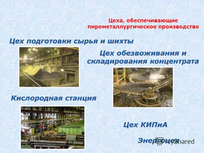 Цеха, обеспечивающие пирометаллургическое производство Цех подготовки сырья и шихты Цех обезвоживания и складирования концентрата Кислородная станция Цех КИПиА Энергоцех