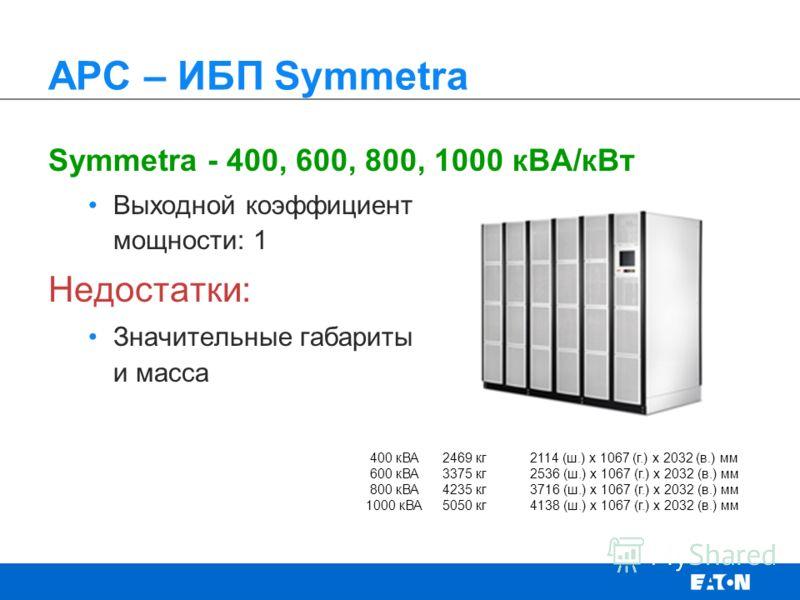 Symmetra - 400, 600, 800, 1000 кВА/кВт Выходной коэффициент мощности: 1 Недостатки: Значительные габариты и масса APC – ИБП Symmetra 400 кВА2469 кг 2114 (ш.) x 1067 (г.) x 2032 (в.) мм 600 кВА3375 кг 2536 (ш.) x 1067 (г.) x 2032 (в.) мм 800 кВА4235 к