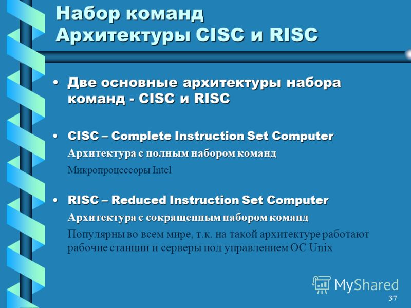 37 Набор команд Архитектуры CISC и RISC Две основные архитектуры набора команд - CISC и RISCДве основные архитектуры набора команд - CISC и RISC CISC – Complete Instruction Set ComputerCISC – Complete Instruction Set Computer Архитектура с полным наб