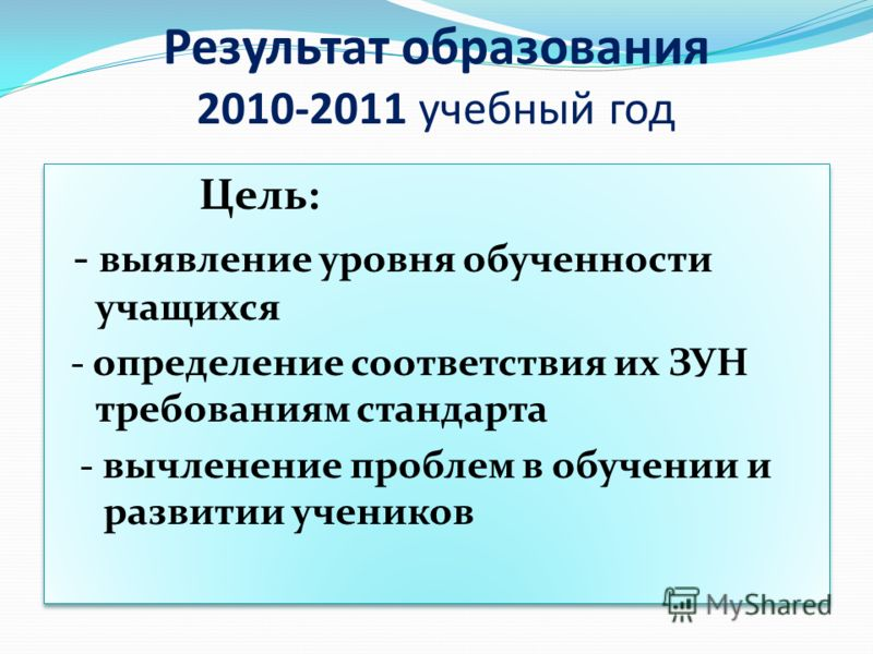 Результат образования 2010-2011 учебный год Цель: - выявление уровня обученности учащихся - определение соответствия их ЗУН требованиям стандарта - вычленение проблем в обучении и развитии учеников Цель: - выявление уровня обученности учащихся - опре