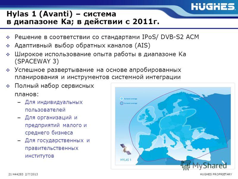 HUGHES PROPRIETARY21 H44283 2/7/2013 Hylas 1 (Avanti) – система в диапазоне Ka; в действии с 2011г. Решение в соответствии со стандартами IPoS/ DVB-S2 ACM Адаптивный выбор обратных каналов (AIS) Широкое использование опыта работы в диапазоне Ka (SPAC