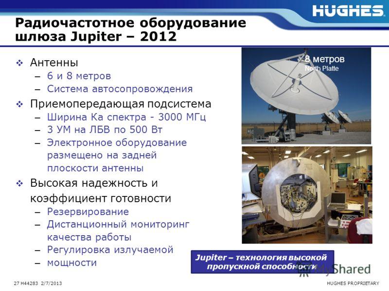 HUGHES PROPRIETARY27 H44283 2/7/2013 Радиочастотное оборудование шлюза Jupiter – 2012 Антенны – 6 и 8 метров – Система автосопровождения Приемопередающая подсистема – Ширина Ка спектра - 3000 МГц – 3 УМ на ЛБВ по 500 Вт – Электронное оборудование раз