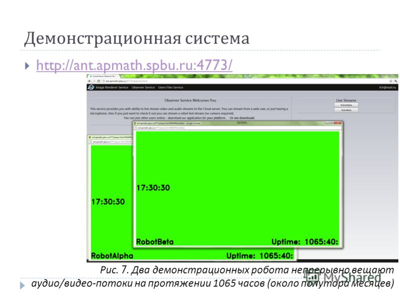 Демонстрационная система http://ant.apmath.spbu.ru:4773/ Рис. 7. Два демонстрационных робота непрерывно вещают аудио / видео - потоки на протяжении 1065 часов ( около полутора месяцев )