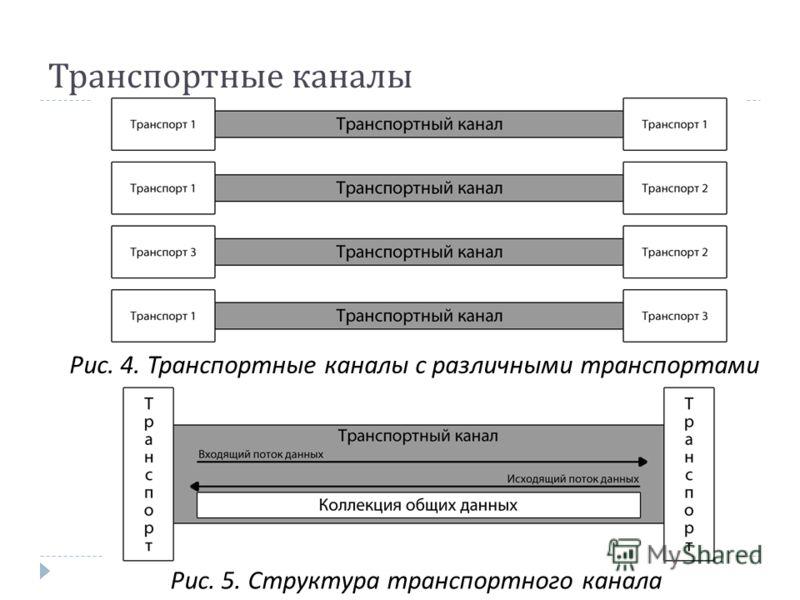 Транспортные каналы Рис. 4. Транспортные каналы с различными транспортами Рис. 5. Структура транспортного канала